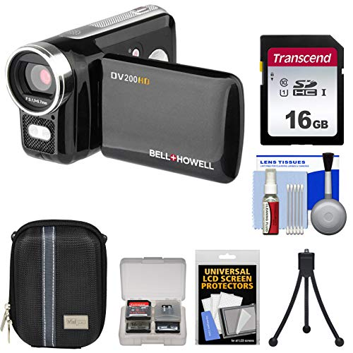 Bell & Howell DV200HD HD Video Camera Camcorder with Built-in Video Light with 16GB Card + Case + Mini Tripod + Accessory Kit ()