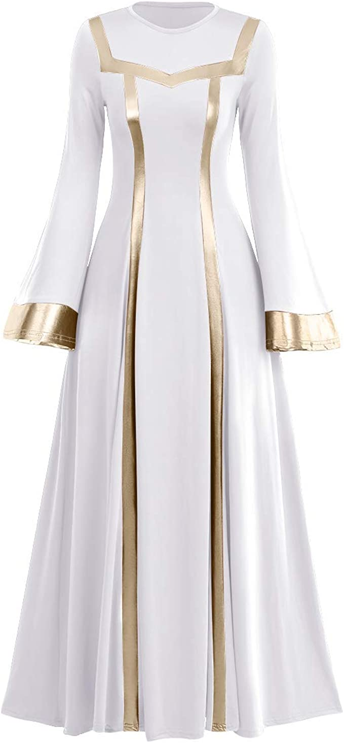 Women Metallic Praise Dance Dress Liturgical Church Worship Costume Bell  Long Sleeve Bi Color Lyrical Robe Dancewear