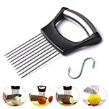 CETHIAS Onion Holder Slicer - Stainless Steel Vegetable Cutter Holder Slicer Chopper Gadget For Onion, Potatoes, Tomatoes, Cucumbers - Protects Your Hands During Slicing / Full Grip Handle