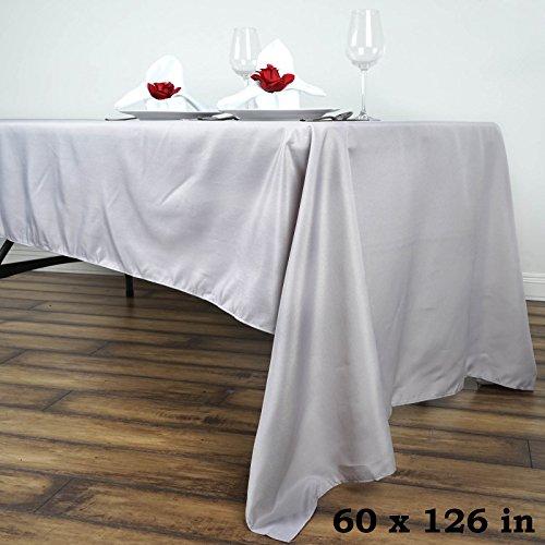 LinenTablecloth 60 x 126-Inch Rectangular Polyester Tablecloth Silver ()