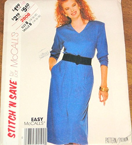 (Stitch n Save by McCall's 2808 B, Pullover Long Sleeve Dress, Womens Vintage 1980s Easy Sewing Pattern Size B 14-18 Bust 36-40 Uncut Factory Fold)