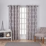 Exclusive Home EH8124-01 2-84G Montrose Ogee Geometric Textured Linen Jacquard Grommet Top Window Curtain Panel Pair, Ash Grey, 54x84""