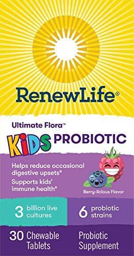 5172gf%2Bq5nL. AC - Renew Life Kids Probiotics 3 Billion CFU Guaranteed, 6 Strains, Shelf Stable, Gluten Dairy & Soy Free, 30 Chewable Tablets, Ultimate Flora Kids Probiotics Berry-licious (Packaging May Vary)