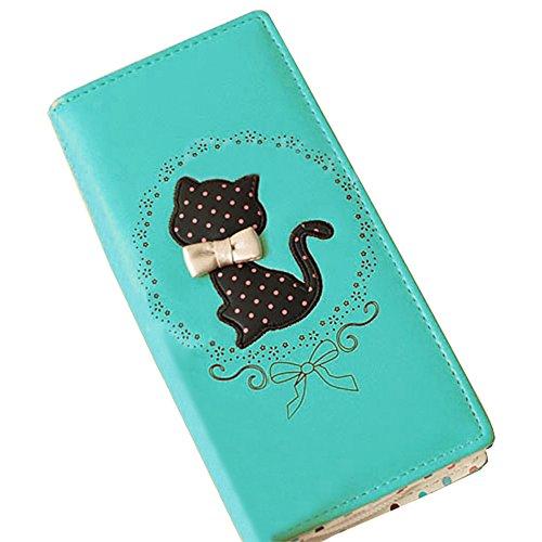 Tenflyer Women Bifold Leather Purse Dots Cartoon Cat Pattern Clutch Long Zipper Wallet Handbag (Green)