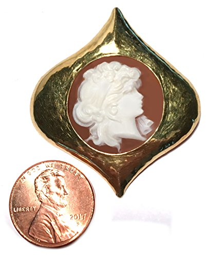 Cameo Brooch Eternal Love Sardonyx Shell Master Carved, Italian 18k Yellow Gold by cameos R us (Image #4)