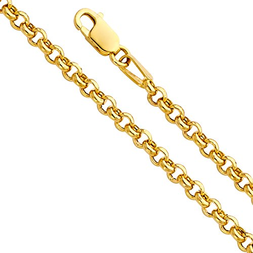 14k Yellow Gold Hollow 2.5mm Classic Rolo Chain Bracelet with Lobster Claw Clasp - 7.5
