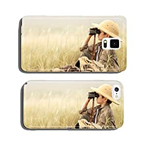 Boy looking through binoculars in a thick gray grass cell phone cover case iPhone6 Plus