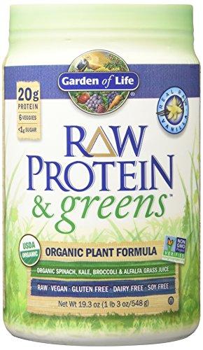 Garden of Life Greens and Protein Powder - Organic Raw Protein and Greens with Probiotics/Enzymes, Vegan, Gluten-Free, Vanilla, 19.3oz (1lb 30 oz/548g) Powder