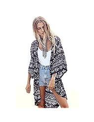 Lowpricenice(TM)Women Printed Half Sleeve Kimono Cardigan Coat Tops Blouse Loose Jacket