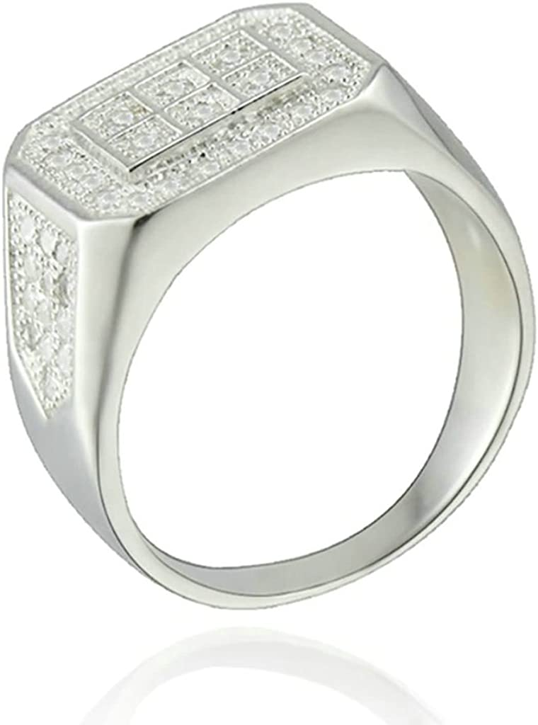 AMDXD Jewelry Silver Plated Wedding Bands for Men Rectangle
