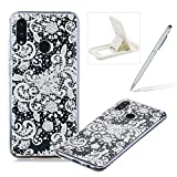 Rubber Case for Huawei Honor 10 Lite,Herzzer Premium Stylish [White Lace Printed] Scratch Resistant Ultra Thin Soft Gel Silicone Transparent Clear Crystal Slim Fit TPU Back Cover