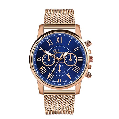 Womens Luxury Wristwatch, Balakie Roman Numerals Stainless Steel Mesh Band Analog Quartz Watch-A143 Valentine's Day Gift(Blue) ()