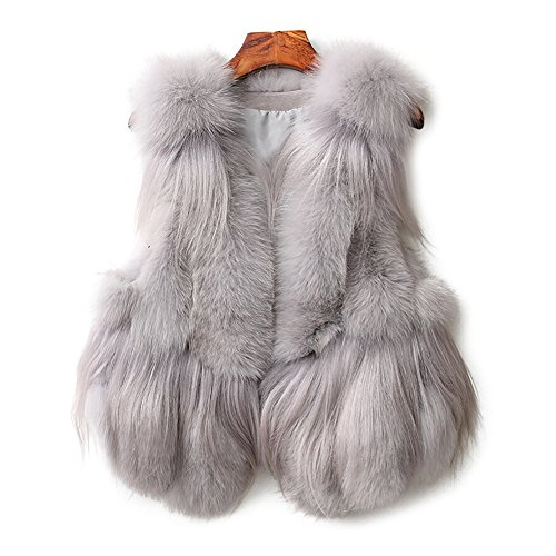 - SPRINGWIND Genuine Fox Fur Coat Women Waistcoat Shaggy Vest Short Gilet