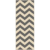 Custom Size Grey Chevron Zig Zag Rubber Backed Non-Slip Hallway Stair Runner Rug Carpet 22 inch Wide Choose Your Length 22in X 12ft