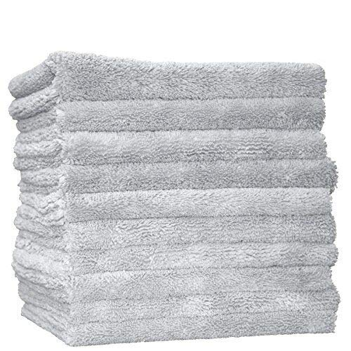 (THE RAG COMPANY (10-Pack) 16 in. x 16 in. Professional Edgeless 70/30 Blend 420 GSM Dual-Pile Plush Microfiber Auto Detailing Towels Creature Edgeless (Light)