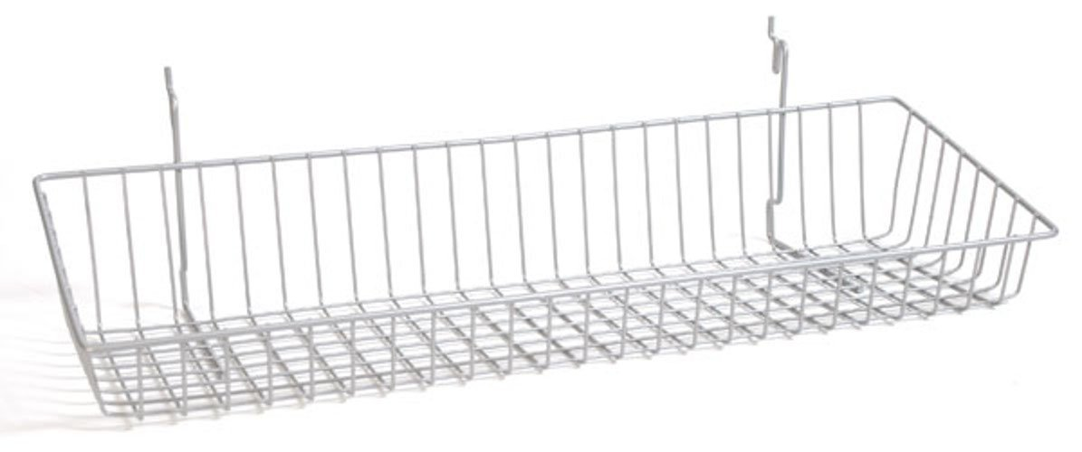 Case of 8 Powder Coated Chrome Sloping basket 24''w x 8''d x 4''h Back x 2''h Front