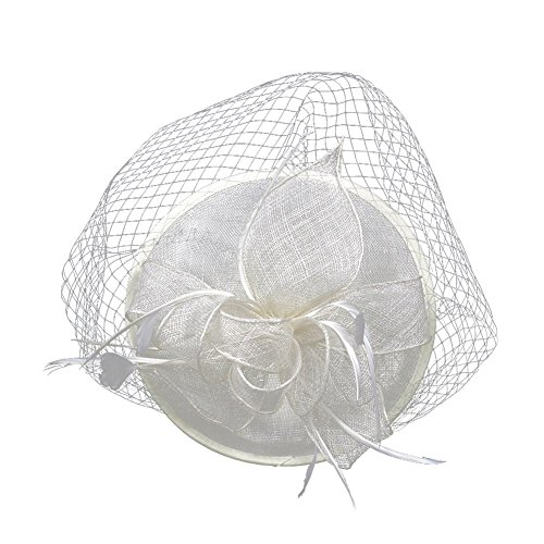 ACTLATI Fascinators Hat for Women Mesh Ribbons Feathers Hair Clip Kentucky Derby Headband Tea Party Wedding Headwear Beige for $<!--$18.99-->