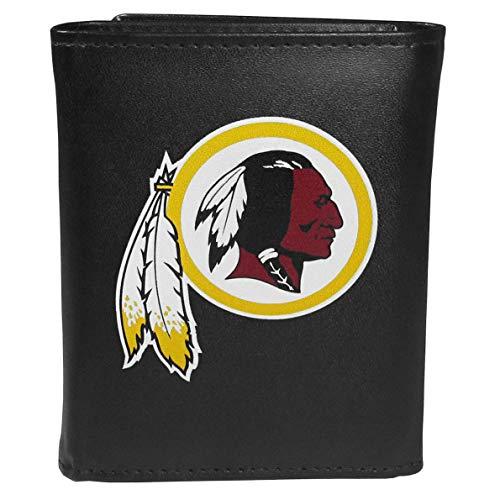 Siskiyou NFL Washington Redskins Unisex SportsLeather Tri-fold Wallet, Large Logo, Black, One Size