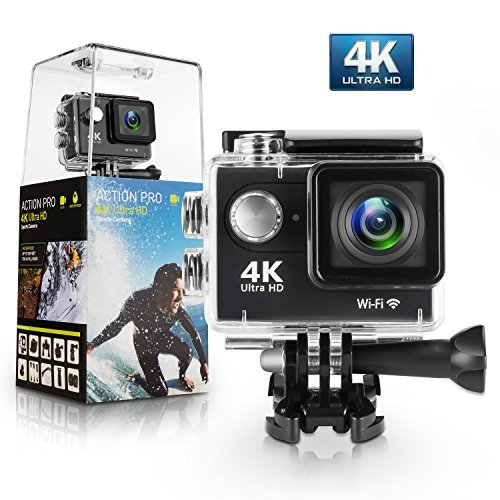 Action Camera, Amuoc 4K WiFi Ultra HD Waterproof DV Camcorder 12MP 170 Degree Wide Angle, Including...