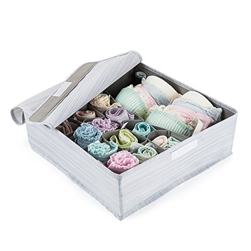 Mee'life Foldable Fabric Underwear Storage Box,Clothes Storage Bag Basket Bins Organizer Containers Divider for Quilt Apparel Garments Bras Socks Ties Scarves (Light Gray) Garment Storage Boxes