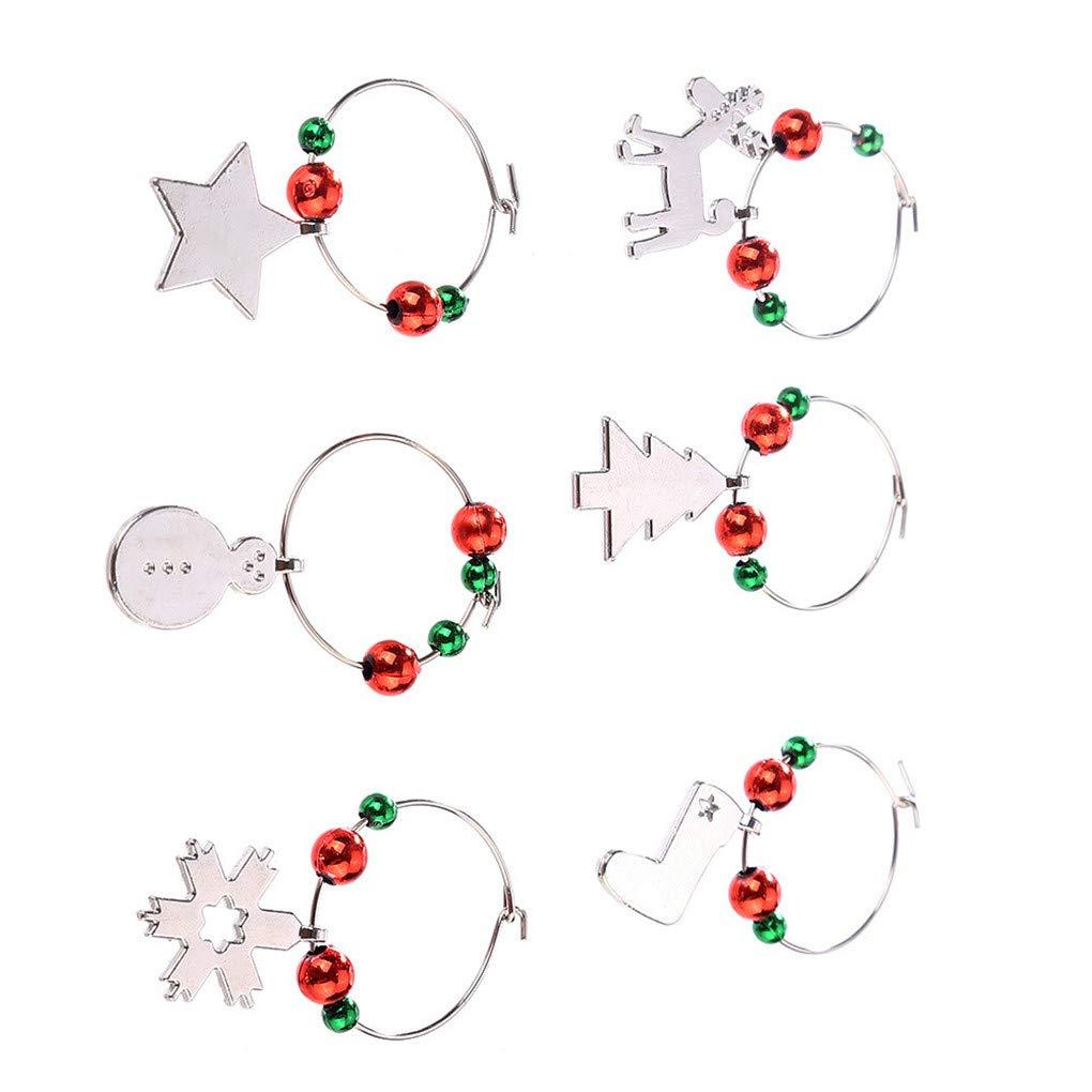 Windy5 6pcs Weihnachts Ring Weinglas Dekoration-Partei-Jahr-Cup Ring ...