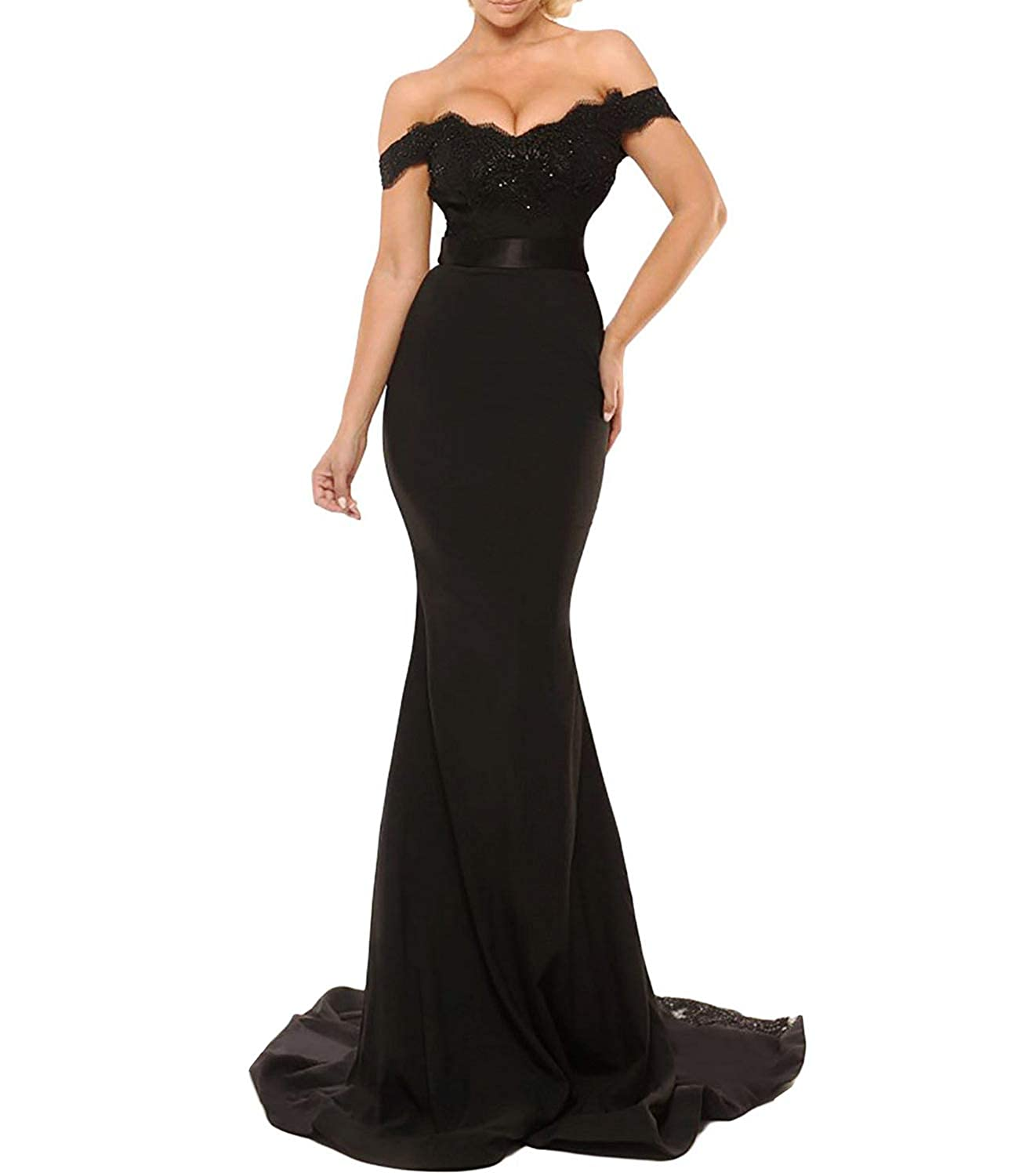 fa3a7ac7ab02 Women s Off The Shoulder Lace Mermaid Prom Party Gowns Bridesmaid Evening  Dresses at Amazon Women s Clothing store