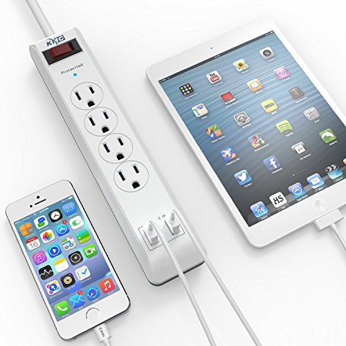 KMC 4-Outlet Surge Protector Power Strip 2-Pack, Overload Protection, 4-Foot Cord with 2.4A 2-Port USB Ports, ETL Listed by KMC (Image #2)