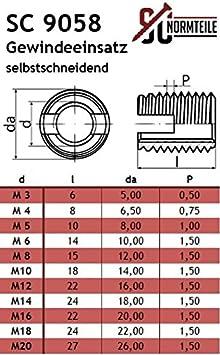 M8 - selbstschneidend Gewindeeins/ätze - NIRO SC-Normteile/® 10 St/ück - aus rostfreiem Edelstahl A1 VA mit Schneidschlitz SC9058