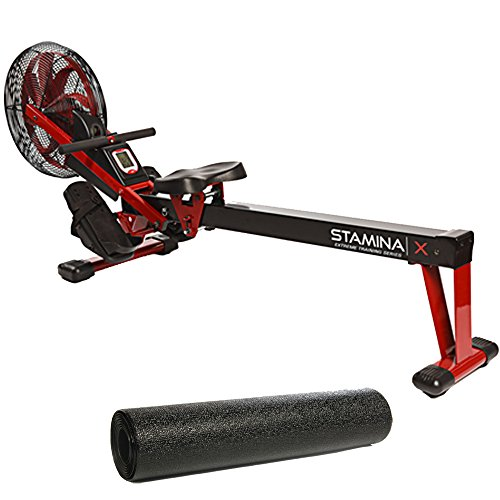 Stamina X Air Rower,Red and Fold-to-Fit Folding Equipment Mat (84-Inch by 36-Inch)