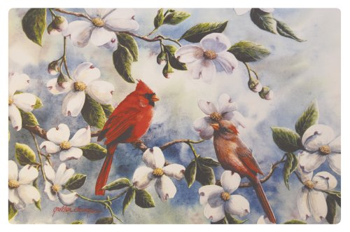 Cardinals and Dogwood Washable Plastic Vinyl Placemats Set of Four