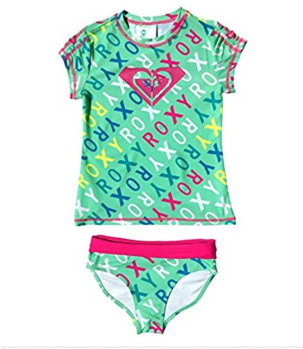 Roxy Girls Logo Rash Guard Set Cabbage Size 14