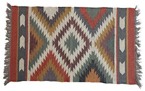 Indian Handmade Rustic 2.5X 4' Handwoven Reversible Yoga Carpet Runner Rug Kilim Wool Jute Carpet Turkish Area Vintage Hand Dhurrie Rugs Silk Persian Handwoven Feet Kelim Print Woven ()