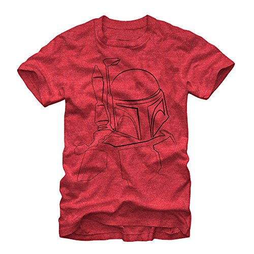 Star Wars Men's Boba Fett Outline Red Heather T-Shirt