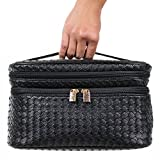 Cosmetic Makeup Bag & Organizer for Women | Train Case Style with Double Zipper | Portable Travel Kit Organizer for Brushes & Toiletries + Blender Sponge