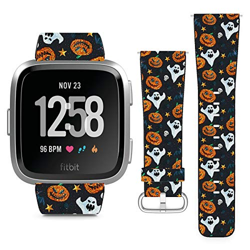 Compatible with Fitbit Versa // Leather Replacement Bracelet Strap Wristband with Quick Release Pins // Halloween Pixel -