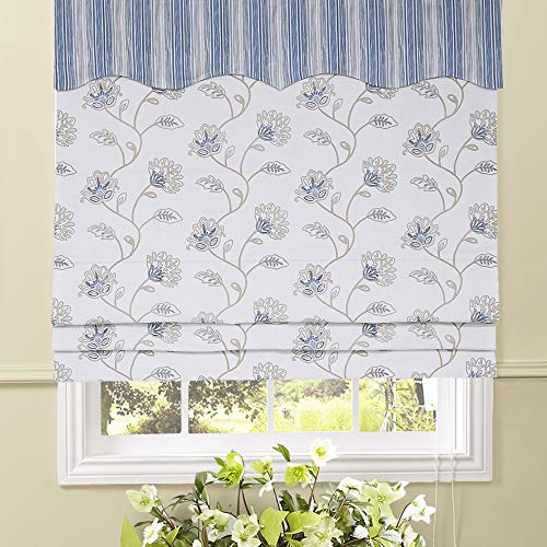 Artdix Roman Shades Blinds Window Shades - Blue-White 37 W x 96L Inches (1 Piece) Blackout Fabric Custom Made Roman Shades for Windows, Doors, Home, Kitchen, Living Room Including Valance ()