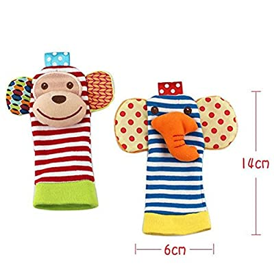 Acefun 4PCS Animal Baby Wrist Rattles and Foot Finder Set Developmental Soft Toys - Monkey and Elephant by Acefun that we recomend individually.
