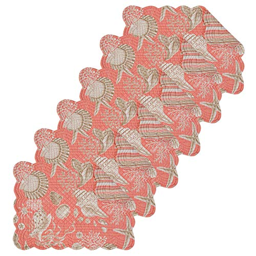 C&F Home Natural Shells Coral Quilted Single Rectangular Cotton Quilted Placemat Set of 6 Rectangular Placemat Set of 6 Coral ()
