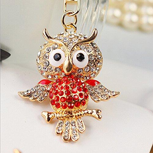 Hooshion® Lovely Fashion Diamond Crystal Rhinestone Keychain Key Chain Purse Handbag Bag Decoration Gift (Owl Red)