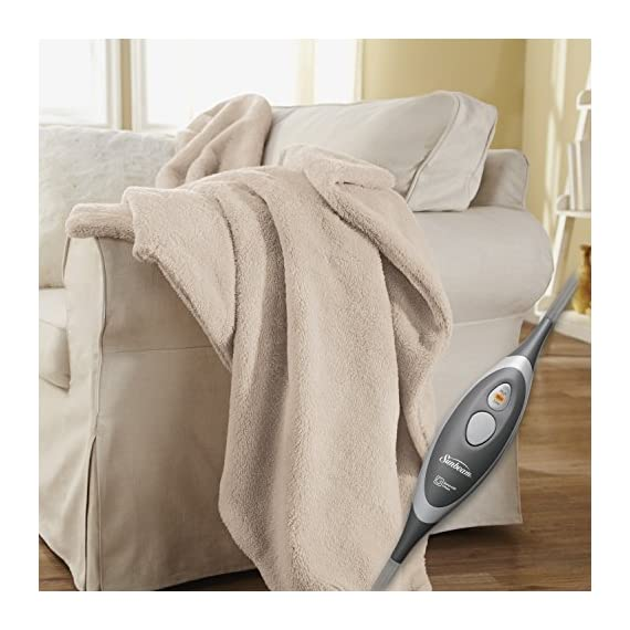 Sunbeam Heated Throw Blanket | LoftTec, 3 Heat Settings, Sand - TSL8TS-R783-31A00 - 3 heat settings 3 hour auto shut off Machine washable and dryer safe - blankets-throws, bedroom-sheets-comforters, bedroom - 5172k2fRlpL. SS570  -