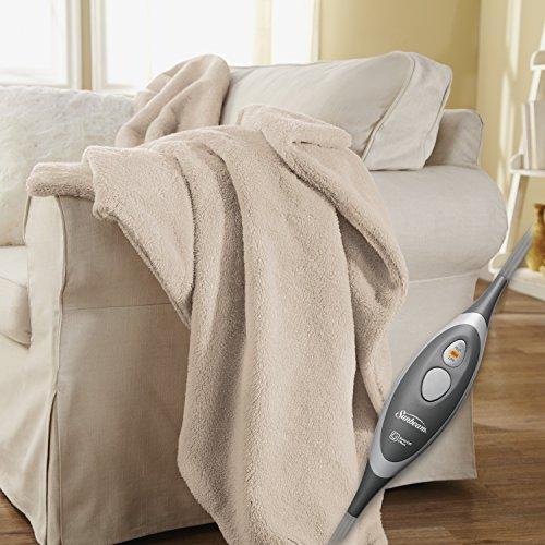 Sunbeam Heated Throw Blanket | LoftTec, 3 Heat Settings, Sand