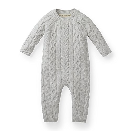Hope & Henry Layette Grey Cable Knit Sweater Romper ()