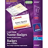 "Avery Hanging Name Badge kit for Laser and Inkjet Printers,  3"" x 4"", Clear, 54 Pack (5393)"