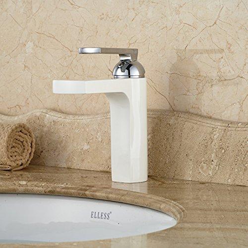 CZOOR Waschbecken-Mischer-Hahn gegrillten weißen Porzellan-Deck montiert Vanity-Waschtischmischer Taps Einzel-Chrom-Wasserfall Spout Griff