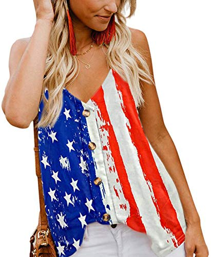 American Flag Tank Top - Fancyskin American Flag Tank Top for Women Summer USA Classic Sleeveless Blouses,S