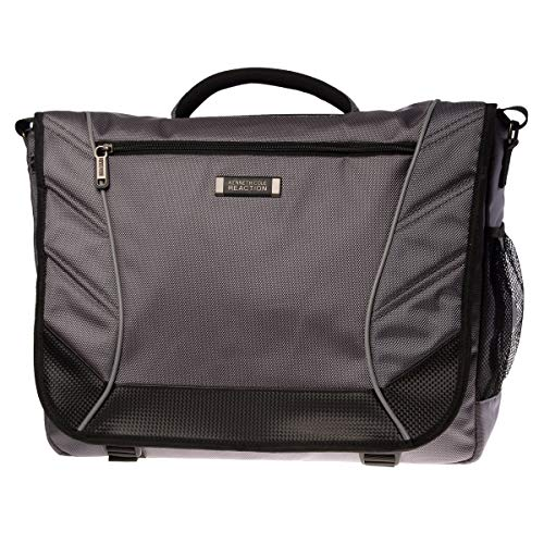 (Kenneth Cole Reaction Flapover Castlerock Single Gusset 17 inch Messenger Bag for Laptops - Charcoal Gray)