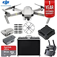 DJI Mavic Pro Platinum Quadcopter Drone with 1 Year Extended Warranty Plus 64GB Accessories Bundle