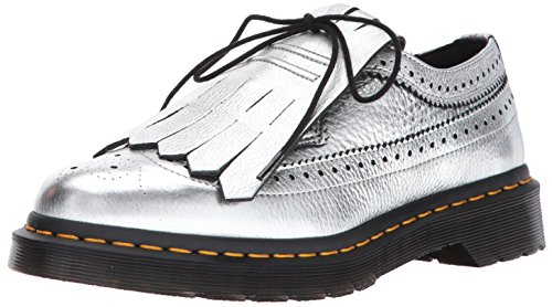 con Zapato 3989 EN Dr con Franja Piel Silver Metálica Martens Cordones Plata Z7FqEwE