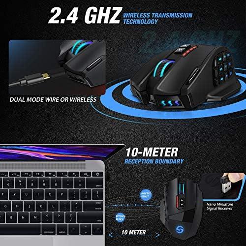 UtechSmart Venus Pro RGB Wireless MMO Gaming Mouse, 16,000 DPI Optical Sensor, 2.4 GHz Transmission Technology, Ergonomic Design, 16M Chroma RGB Lighting, 16 programmable Buttons, Up to 70 Hours 5172koxEBFL