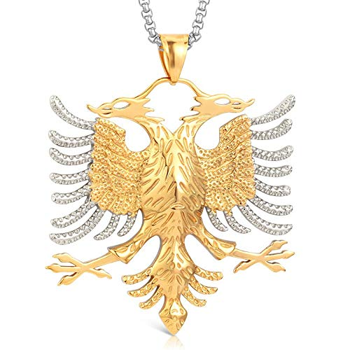 Albania Flag Eagle Pendants Russian Emblem Necklace Coat of Arms Double Headed Eagle Stainless Steel Pendants Chain